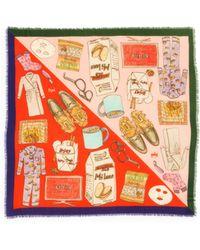 Cjw - Graphic Print Colourblock Wool Scarf - Lyst
