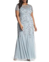 Adrianna Papell - Floral Beaded Godet Gown - Lyst