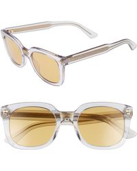 Gucci - 50mm Square Sunglasses - Transparent Grey - Lyst