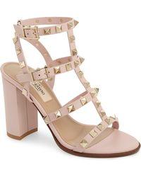 bfa9e281a9f Valentino - Rockstud Block Heel Sandal - Lyst