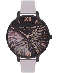 Olivia Burton - After Dark Butterfly Leather Strap Watch - Lyst
