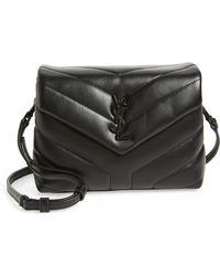 5a6cdc1f10c8 Lyst - Saint Laurent Toy Anita Fringed Suede Cross-Body Bag in Black