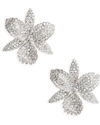 Nina - Large Orchid Swarovski Crystal Stud Earrings - Lyst