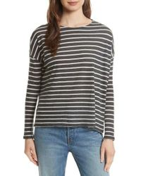 Majestic Filatures - Stripe Cotton & Cashmere Boatneck Top - Lyst
