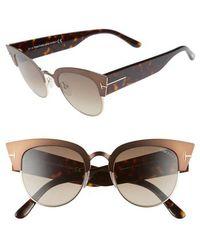 Tom Ford - Alexandra 51mm Sunglasses - Dark Brown/ Gradient Roviex - Lyst
