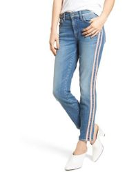 7 For All Mankind - 7 For All Mankind Roxanne Faux Suede Stripe Ankle Skinny Jeans - Lyst
