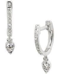 EF Collection - Diamond Teardrop Huggies - Lyst