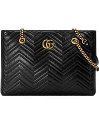 Gucci - Gg Marmont 2.0 Matelasse Medium Leather East/west Tote Bag - - Lyst