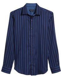 Bugatchi - Shaped Fit Stripe Sport Shirt - Lyst