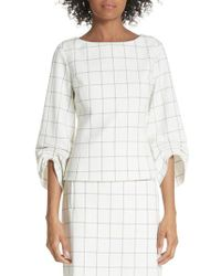 Tibi - Windowpane Plaid Ruched Cuff Top - Lyst