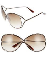 Tom Ford - Miranda 68mm Open Temple Oversize Metal Sunglasses - - Lyst