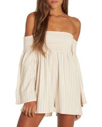 Billabong - Fox On The Run Off The Shoulder Romper - Lyst