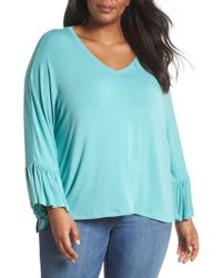 Sejour - Ruffle Sleeve Knit Top - Lyst