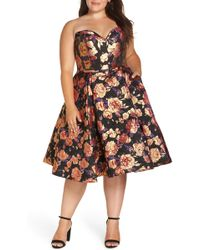 Mac Duggal - Bustier Floral Fit & Flare Dress - Lyst