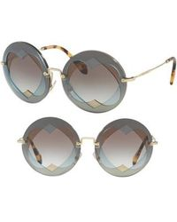 Miu Miu - 62mm Layered Heart Round Sunglasses - Lite Blue Gradient - Lyst