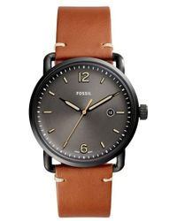 Fossil - The Commuter Leather Strap Watch - Lyst