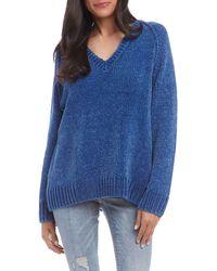 Karen Kane V-neck Chenille Sweater - Blue
