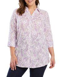 Foxcroft - Faith Floral Jacquard Shirt - Lyst