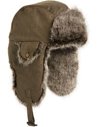 0a2770cde480c Crown Cap - Waxed Cotton Aviator Hat With Faux Fur Lining - - Lyst