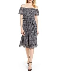 MICHAEL Michael Kors - Wavy Leopard Print Off The Shoulder Dress - Lyst