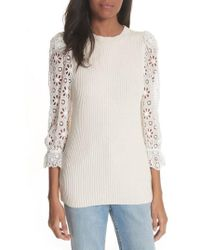 Rebecca Taylor   Eyelet Sleeve Sweater   Lyst