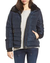 Dorothy Perkins - Puffer Jacket With Faux Fur Collar Lining - Lyst