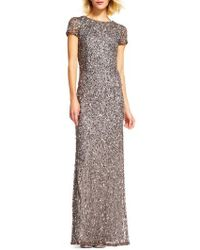 Adrianna Papell - Short Sleeve Sequin Mesh Gown - Lyst