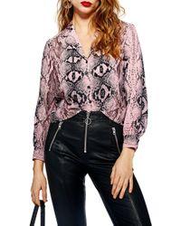TOPSHOP - Jessica Print Shirt - Lyst