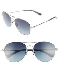 Calvin Klein - 57mm Aviator Sunglasses - Satin Nickel - Lyst