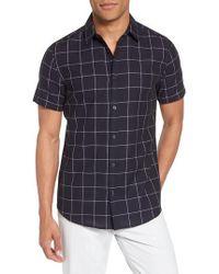 Vince Camuto - Window Pane Print Woven Shirt - Lyst