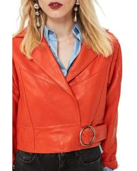 TOPSHOP - Crop Leather Moto Jacket - Lyst