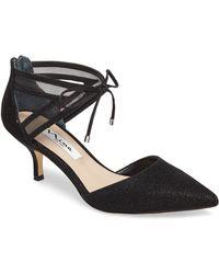 26989245b12f Lyst - Nina Talley Metallic Fabric Ankle Tie Dress Pumps