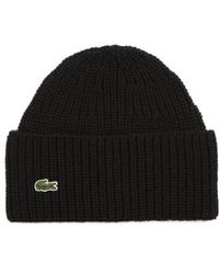 Lacoste - Ribbed Wool Beanie - Lyst