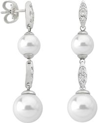 Majorica - Simulated Pearl & Cubic Zirconia Drop Earrings - Lyst
