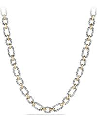 David Yurman - 'chain' Cushion Link Necklace With Sapphires & 18k Gold - Lyst