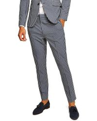 TOPMAN - Muscle Fit Check Suit Trousers - Lyst