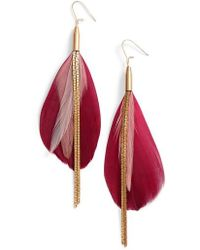 Serefina - Vintage Feather Drop Earrings - Lyst