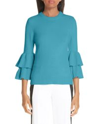 Michael Kors - Tiered Ruffle Sleeve Ribbed Sweater - Lyst