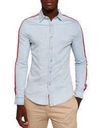 TOPMAN - Taping Denim Shirt - Lyst