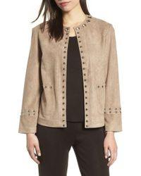 Ming Wang - Embellished Faux Suede Jacket - Lyst