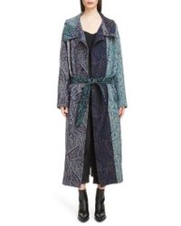 Y's Yohji Yamamoto - Paisley Jacquard Wool Coat - Lyst