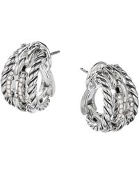 David Yurman - Wellesley Link Hoop Earrings With Diamonds - Lyst