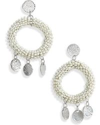 TOPSHOP - Beaded Hoop Earrings - Lyst