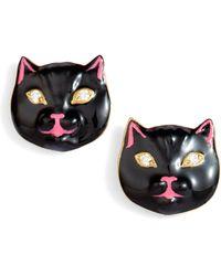 Nora Kogan - Diamond Enamel Pussycat Stud Earrings - Lyst