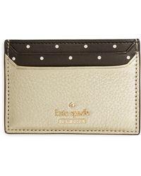 efa03625f77d Kate Spade - Blake Street - Dot Lynleigh Leather Card Case - Metallic - Lyst