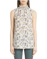 Lafayette 148 New York - Percy Ruffle Neck Silk Top - Lyst