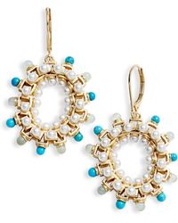 Sole Society - Stone & Imitation Pearl Statement Hoop Earrings - Lyst