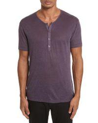 John Varvatos | John Varvatos Linen Henley T-shirt | Lyst