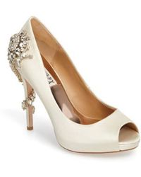 Badgley Mischka - 'royal' Crystal Embellished Peeptoe Pump - Lyst