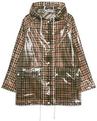 TOPSHOP - Checked Frosted Rain Mac Jacket - Lyst